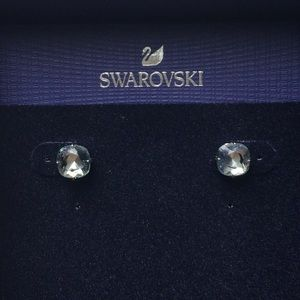 SWAROVSKI Blue Stud Earrings Rhodium Plated